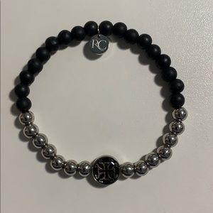 Black and Silver Rustic Cuff Bracelet